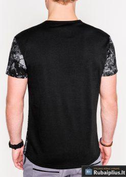 Madingi juodi vyriški marškinėliai su aplikacija vyrams internetu pigiau S1064J nugara
