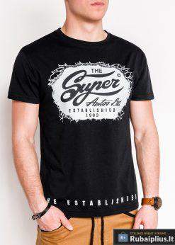 Stilingi juodi vyriški marškinėliai su aplikacija vyrams internetu pigiau S1078J priekis
