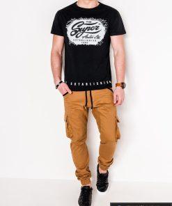 Stilingi juodi vyriški marškinėliai su aplikacija vyrams internetu pigiau S1078J žmogus