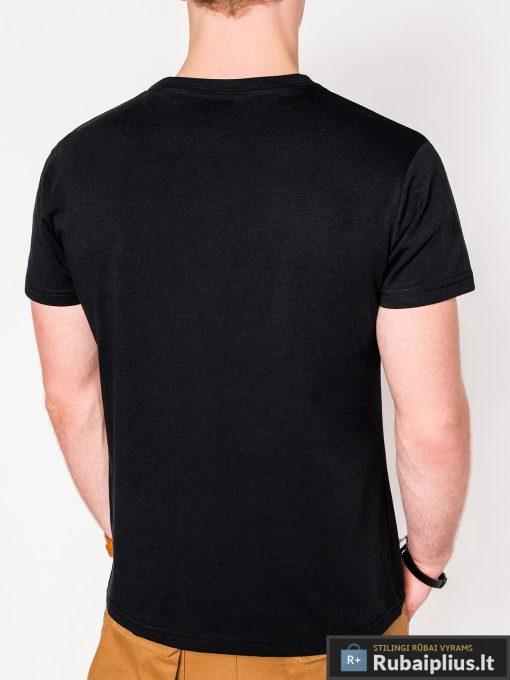 Stilingi juodi vyriški marškinėliai su aplikacija vyrams internetu pigiau S1078J nugara
