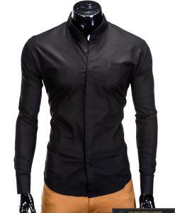 Stilingi juodi vyriški marškiniai ilgomis rankovėmis internetu pigiau K307J priekis