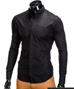 Stilingi juodi vyriški marškiniai ilgomis rankovėmis internetu pigiau K307J kairė
