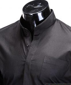 Stilingi juodi vyriški marškiniai ilgomis rankovėmis internetu pigiau K307J apykaklė