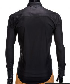 Stilingi juodi vyriški marškiniai ilgomis rankovėmis internetu pigiau K307J nugara