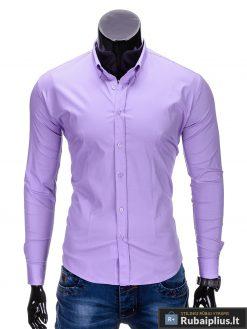 Klasikiniai violetiniai vyriški marškiniai ilgomis rankovėmis vyrams internetu pigiau K219LIL priekis