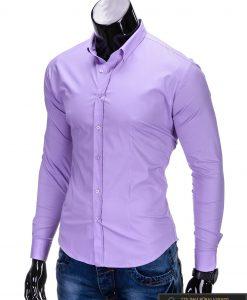 Klasikiniai violetiniai vyriški marškiniai ilgomis rankovėmis vyrams internetu pigiau K219LIL kairė