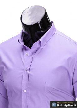 Klasikiniai violetiniai vyriški marškiniai ilgomis rankovėmis vyrams internetu pigiau K219LIL apykaklė