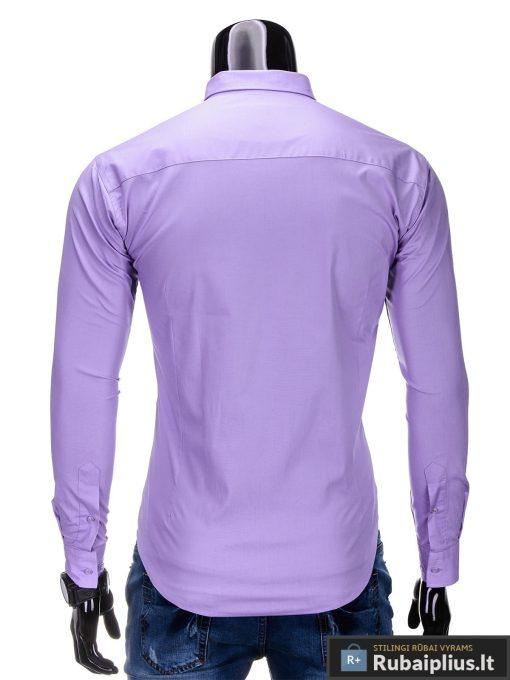 Klasikiniai violetiniai vyriški marškiniai ilgomis rankovėmis vyrams internetu pigiau K219LIL nugara