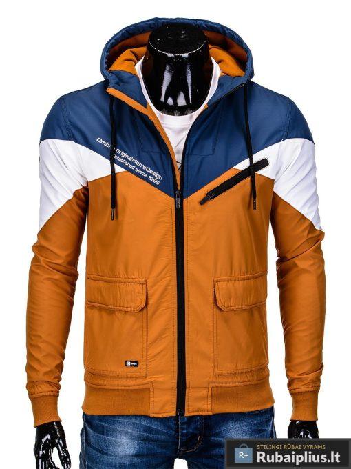 Vyriska pavasarine tamsiai mėlyna-oranžinė striukė vyrams internetu pigiau C316TMO priekis