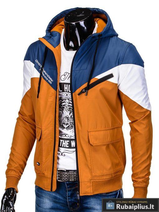 Vyriska pavasarine tamsiai mėlyna-oranžinė striukė vyrams internetu pigiau C316TMO kairė