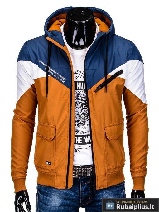 Vyriska pavasarine tamsiai mėlyna-oranžinė striukė vyrams internetu pigiau C316TMO prasegta