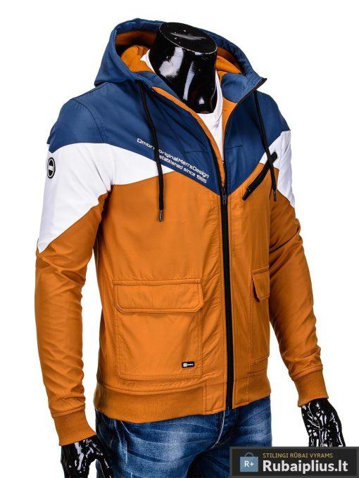 Vyriska pavasarine tamsiai mėlyna-oranžinė striukė vyrams internetu pigiau C316TMO dešinė