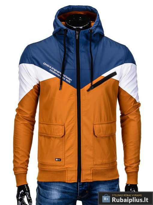 Vyriska pavasarine tamsiai mėlyna-oranžinė striukė vyrams internetu pigiau C316TMO užsegta