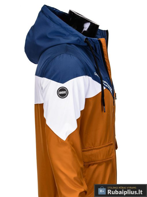 Vyriska pavasarine tamsiai mėlyna-oranžinė striukė vyrams internetu pigiau C316TMO šonas
