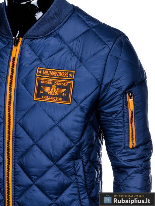 Stilinga mėlyna pavasarinė vyriška striukė vyrams internetu pigiau C357M kišenė