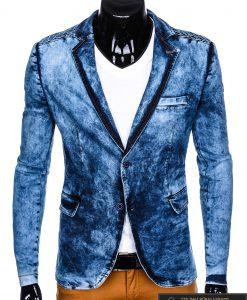 Stilingas šviesiai mėlynas džinsinis vyriškas švarkas bleizeris vyrams internetu pigiau M113SJEANS priekis