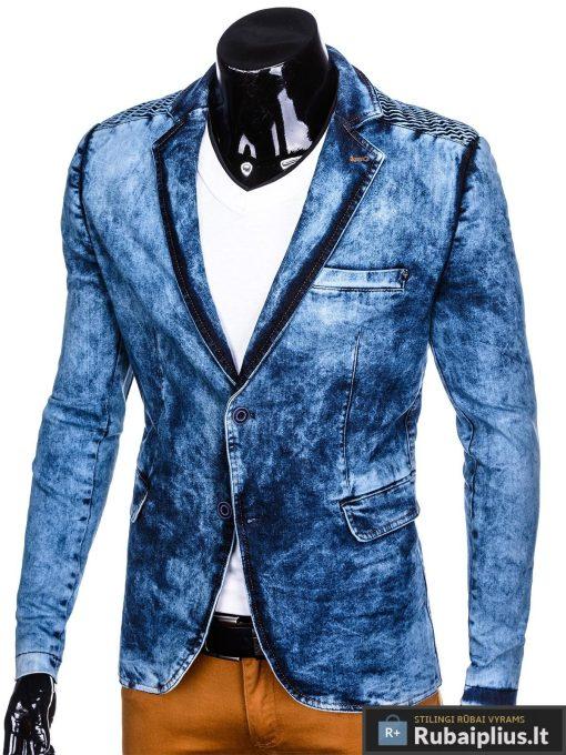Stilingas šviesiai mėlynas džinsinis vyriškas švarkas bleizeris vyrams internetu pigiau M113SJEANS kairė