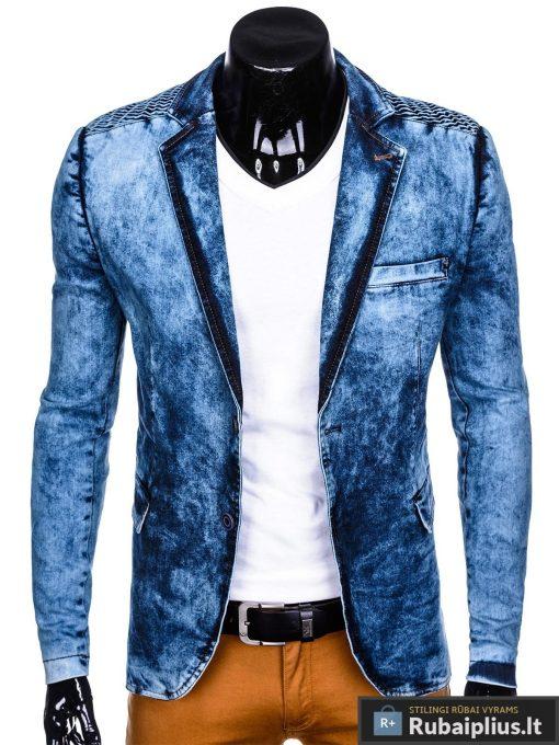 Stilingas šviesiai mėlynas džinsinis vyriškas švarkas bleizeris vyrams internetu pigiau M113SJEANS praegta