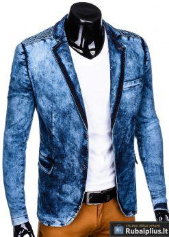 Stilingas šviesiai mėlynas džinsinis vyriškas švarkas bleizeris vyrams internetu pigiau M113SJEANS dešinė