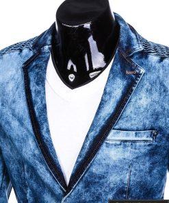 Stilingas šviesiai mėlynas džinsinis vyriškas švarkas bleizeris vyrams internetu pigiau M113SJEANS apykaklė