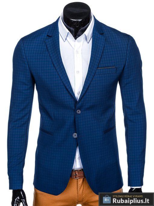 Stilingas mėlynas languotas vyriškas švarkas bleizeris vyrams internetu pigiau M85M priekis