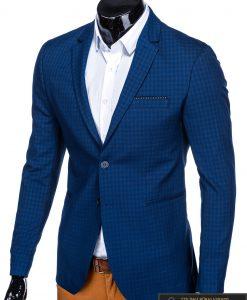 Stilingas mėlynas languotas vyriškas švarkas bleizeris vyrams internetu pigiau M85 kairė