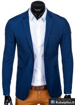 Stilingas mėlynas languotas vyriškas švarkas bleizeris vyrams internetu pigiau M85 priekis prasegtas