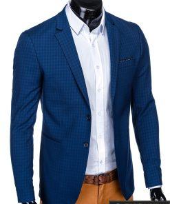 Stilingas mėlynas languotas vyriškas švarkas bleizeris vyrams internetu pigiau M85 dešinė