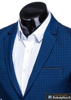 Stilingas mėlynas languotas vyriškas švarkas bleizeris vyrams internetu pigiau M85 apykaklė