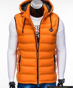 Madinga vyriska oranžinė dygsniuota liemenė vyrams internetu pigiau V42O priekis