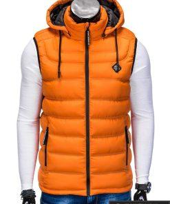 Madinga vyriska oranžinė dygsniuota liemenė vyrams internetu pigiau užsegta