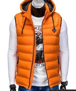 Madinga vyriska oranžinė dygsniuota liemenė vyrams internetu pigiau prasegta
