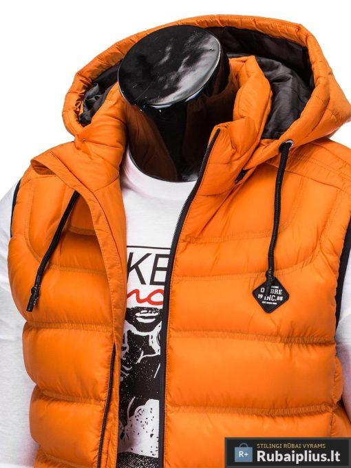Madinga vyriska oranžinė dygsniuota liemenė vyrams internetu pigiau apykaklė