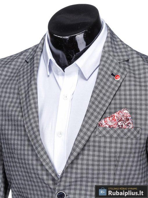 Elegantiškas pilkas languotas vyriškas švarkas bleizeris vyrams internetu pigiau M79P apykaklė
