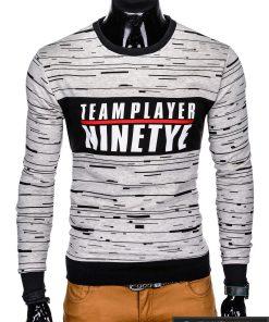 Stilingas pilkas vyriškas džemperis su užrašu vyrams internetu pigiau B953P priekis
