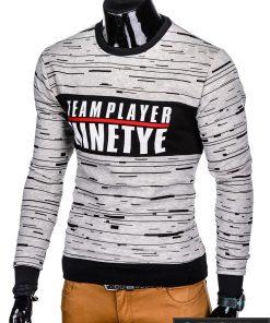 Stilingas pilkas vyriškas džemperis su užrašu vyrams internetu pigiau B953P kairė