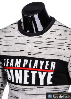 Stilingas pilkas vyriškas džemperis su užrašu vyrams internetu pigiau B953P apykaklė