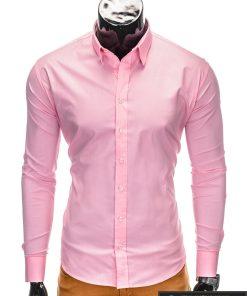 Klasikiniai vyriski rožiniai marškiniai vyrams ilgomis rankovėmis internetu pigiau K219ROZ priekis
