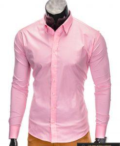Klasikiniai vyriski rožiniai marškiniai vyrams ilgomis rankovėmis internetu pigiau K219ROZ kairė