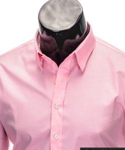 Klasikiniai vyriski rožiniai marškiniai vyrams ilgomis rankovėmis internetu pigiau K219ROZ apykaklė