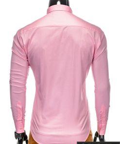 Klasikiniai vyriski rožiniai marškiniai vyrams ilgomis rankovėmis internetu pigiau K219ROZ nugara