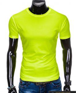 Geltoni vienspalviai marškinėliai vyrams internetu pigiau tinka sportui S883G priekis