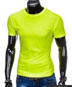 Geltoni vienspalviai marškinėliai vyrams internetu pigiau tinka sportui S883G kairė