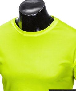 Geltoni vienspalviai marškinėliai vyrams internetu pigiau tinka sportui S883G apykaklė