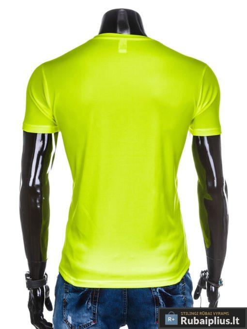 Geltoni vienspalviai marškinėliai vyrams internetu pigiau tinka sportui S883G nugara