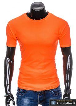 Oranžiniai vienspalviai marškinėliai vyrams internetu pigiau tinka sportui S883O priekis