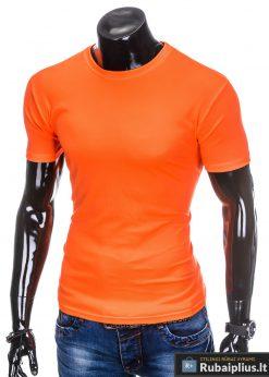 Oranžiniai vienspalviai marškinėliai vyrams internetu pigiau tinka sportui S883O kairė