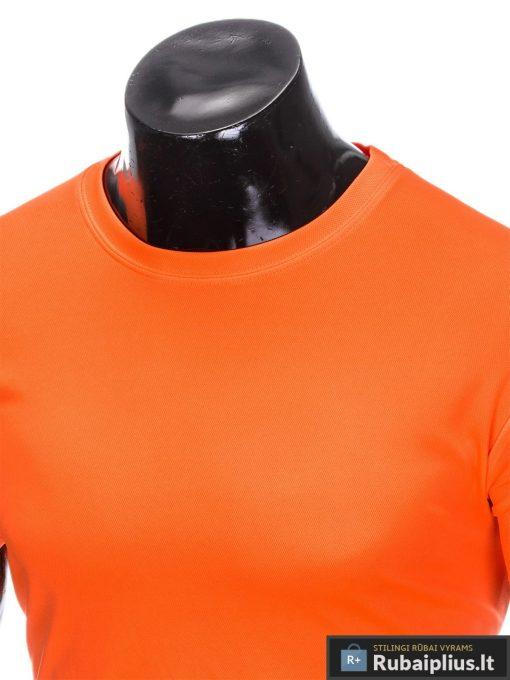 Oranžiniai vienspalviai marškinėliai vyrams internetu pigiau tinka sportui S883O apykaklė