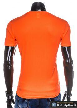 Oranžiniai vienspalviai marškinėliai vyrams internetu pigiau tinka sportui S883O nugara