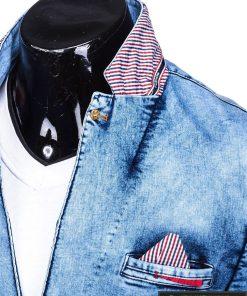 Džinsinis vyriškas švarkas bleizeris vyrams internetu pigiau M117SJEANS apykaklė